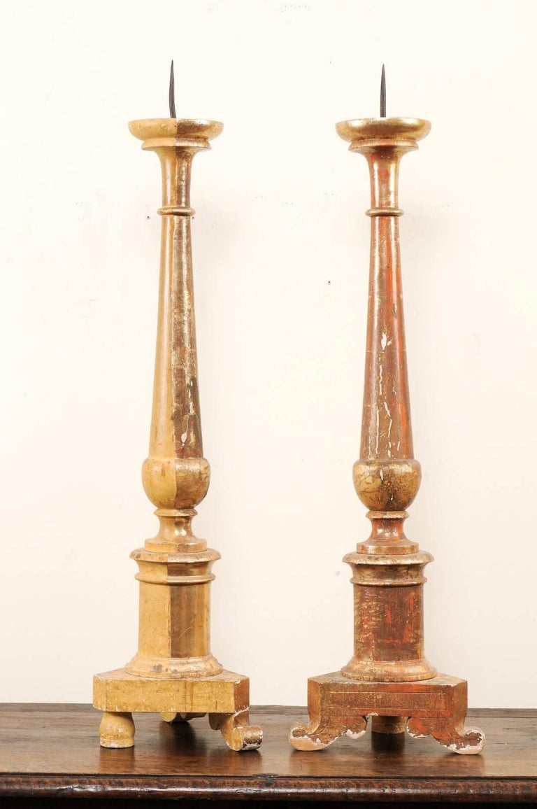 Pair of Italian 19th Century Altar Sticks/Tall Gilded Candlesticks For Sale 1
