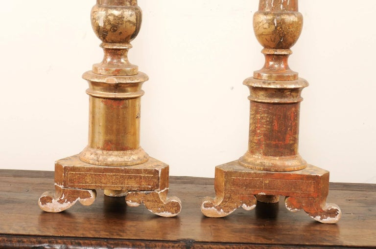 Pair of Italian 19th Century Altar Sticks/Tall Gilded Candlesticks For Sale 4