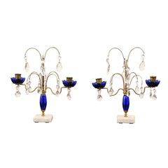 Pair of 19th Century Swedish Crystal and Cobalt Glass Girandoles on Marble Base