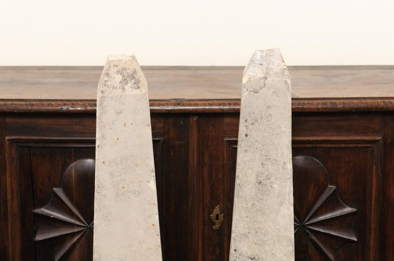 Pair of 19th Century French Stone Obelisk Property Markers, Perhaps for Garden For Sale 2