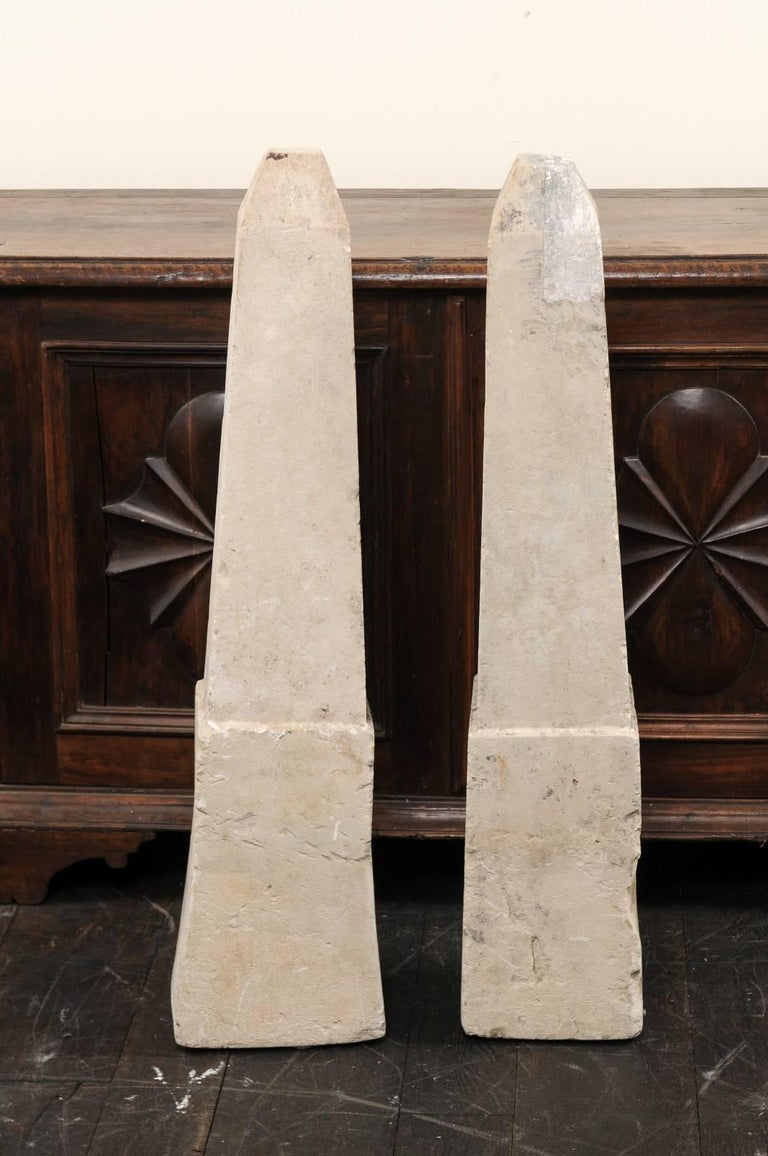 Limestone Pair of 19th Century French Stone Obelisk Property Markers, Perhaps for Garden For Sale