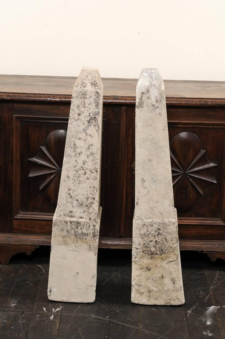 Pair of 19th Century French Stone Obelisk Property Markers, Perhaps for Garden In Good Condition For Sale In Atlanta, GA