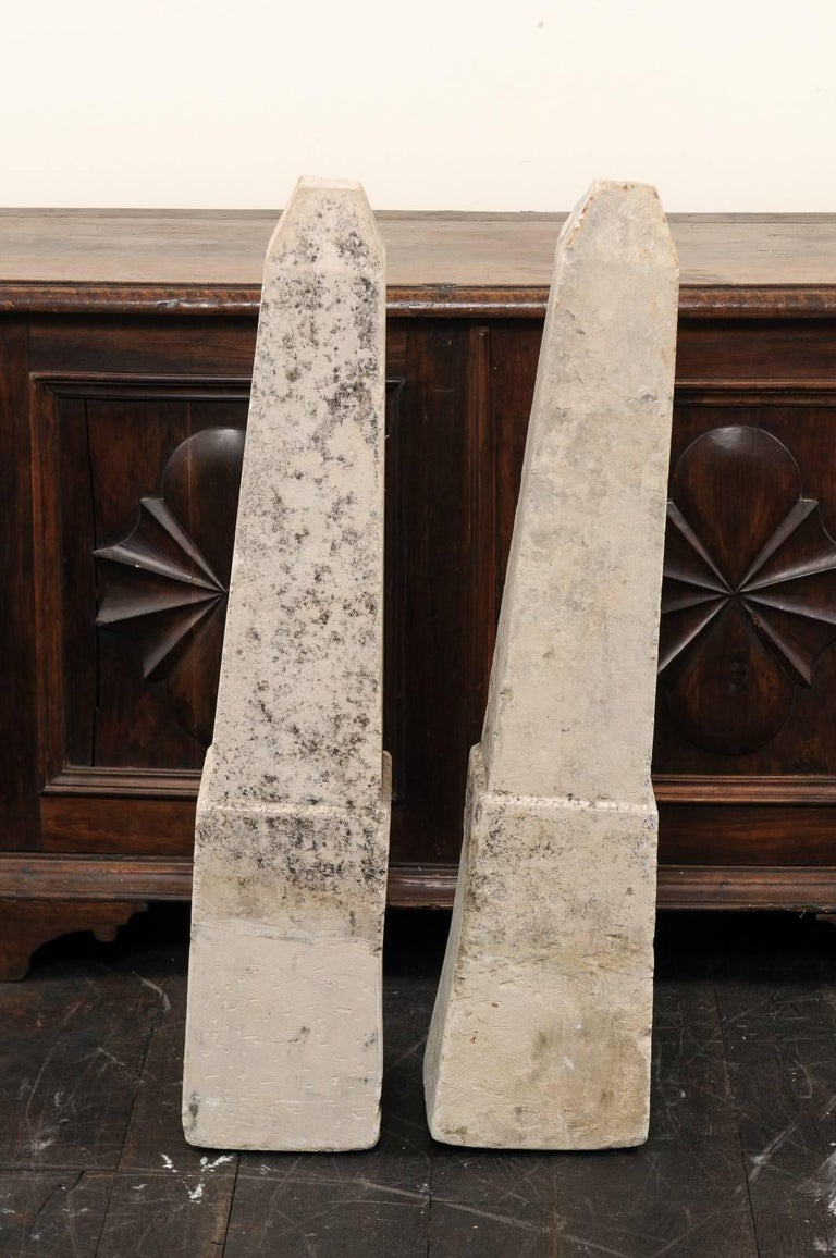 Pair of 19th Century French Stone Obelisk Property Markers, Perhaps for Garden For Sale 1