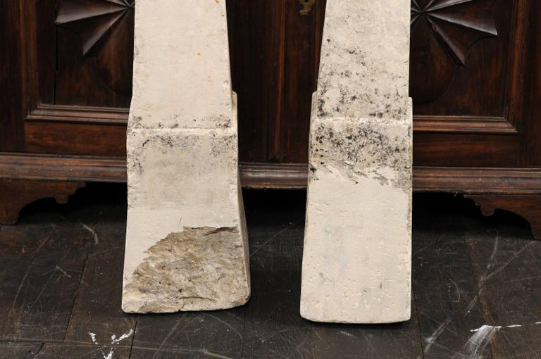 Pair of 19th Century French Stone Obelisk Property Markers, Perhaps for Garden For Sale 3