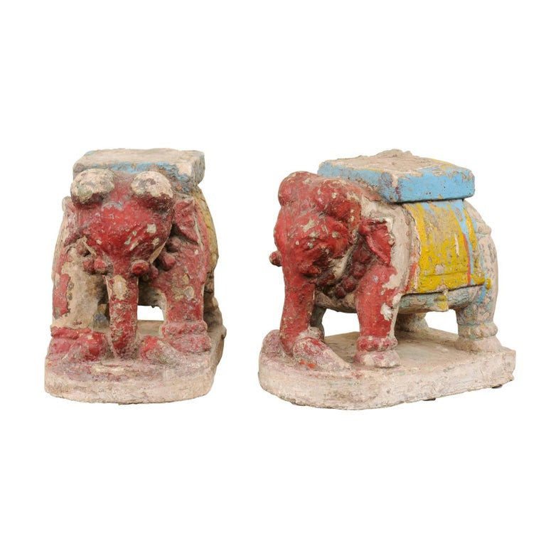 Pair of 19th Century Painted Stone Elephants from a Temple in South India