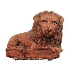 Vintage Terracotta Tabletop Lion Sculpture from Kerala, South India, circa 1940
