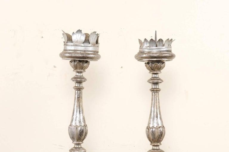 Wood Pair of Tall Italian 19th Century Silver Gilt Candlesticks from Italian Church For Sale
