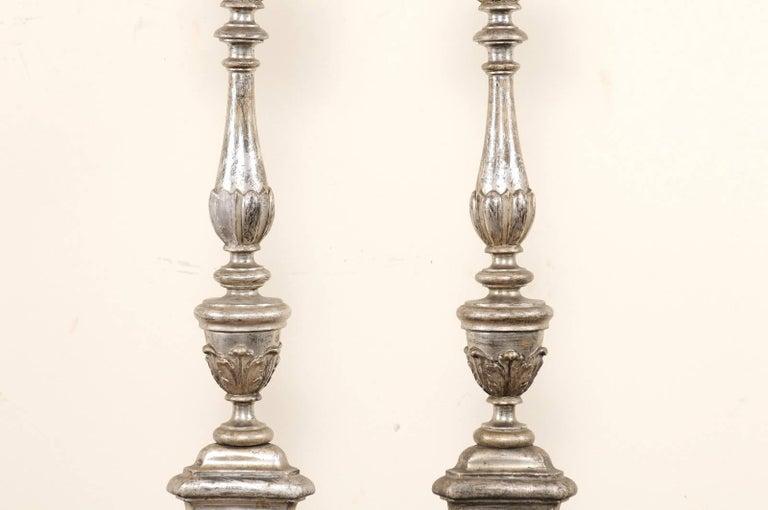 Pair of Tall Italian 19th Century Silver Gilt Candlesticks from Italian Church For Sale 1