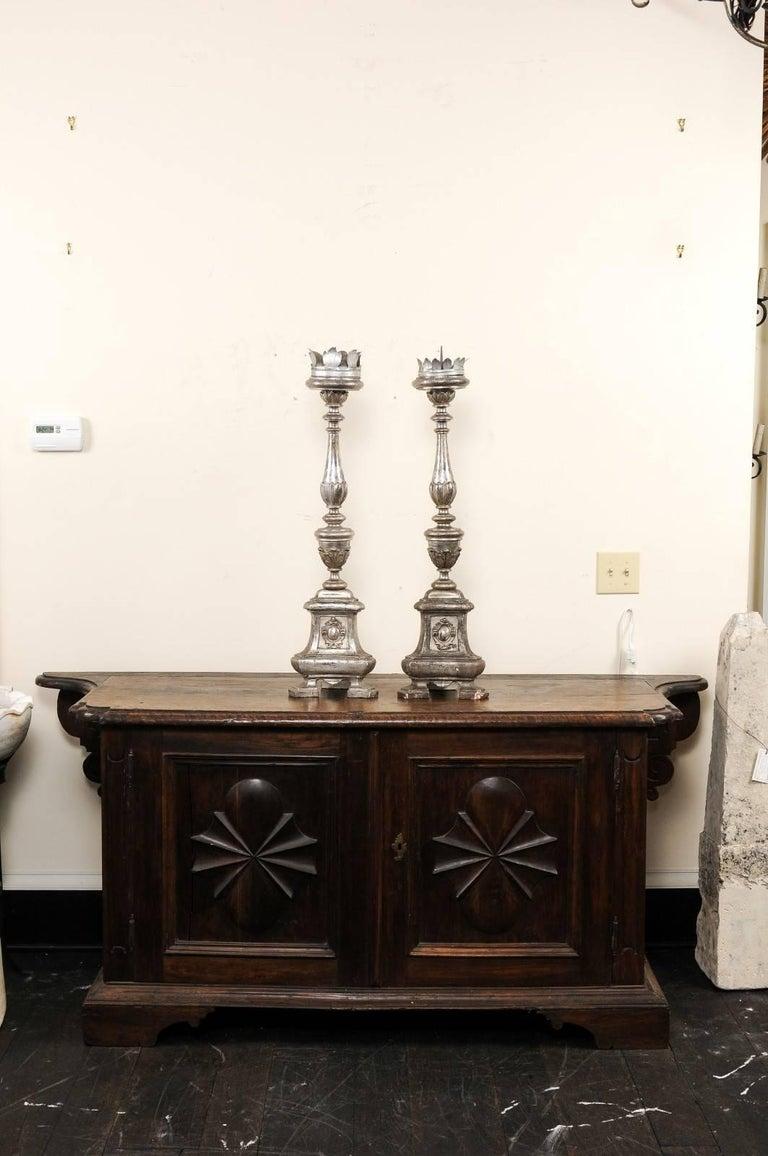 Pair of Tall Italian 19th Century Silver Gilt Candlesticks from Italian Church For Sale 5