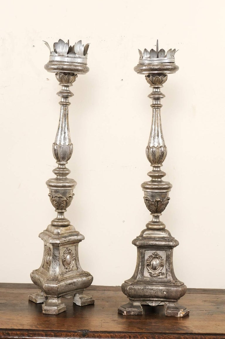 Carved Pair of Tall Italian 19th Century Silver Gilt Candlesticks from Italian Church For Sale