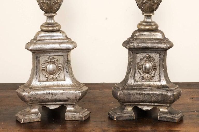 Pair of Tall Italian 19th Century Silver Gilt Candlesticks from Italian Church For Sale 3