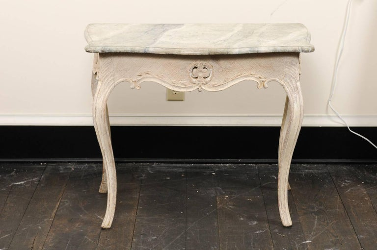 Th Century Swedish Wood And HandPainted Faux MarbleTop Cream - Marble and wood side table
