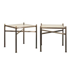 Pair of Vintage Glass Top Square Side Tables with Metal Frames and X-Stretchers