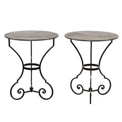 Pair of Petite Round Scrolling Steel Metal Bisto or Guéridon Tables