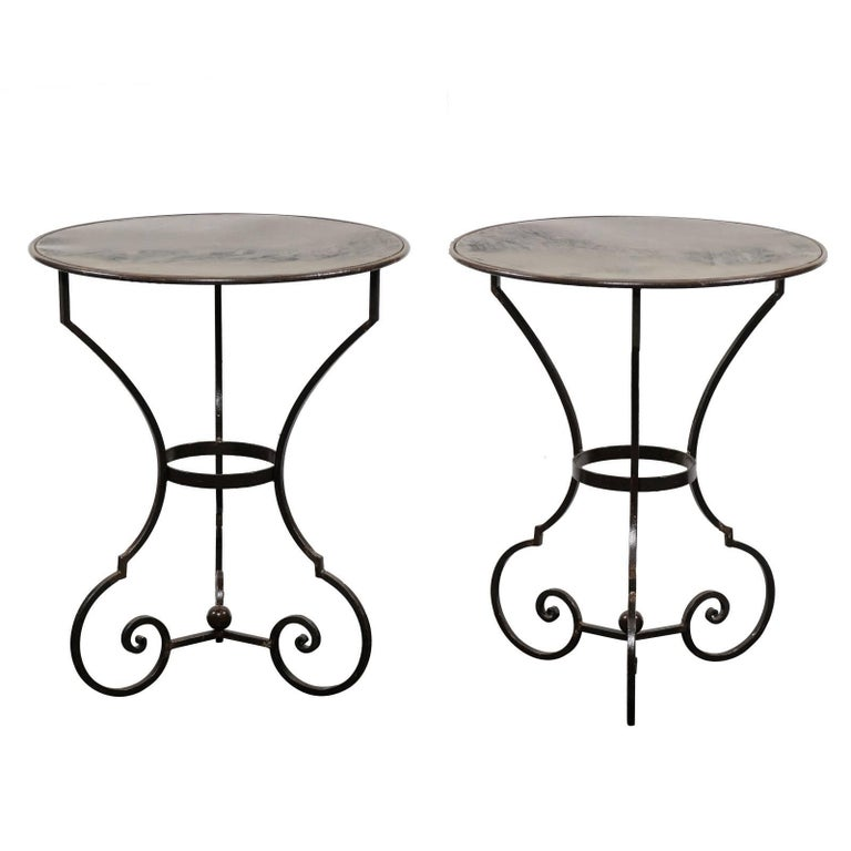pair of petite round scrolling steel metal bisto or gu ridon tables for sale at 1stdibs. Black Bedroom Furniture Sets. Home Design Ideas