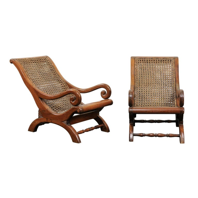 Pair of French 19th Century English Children's Chairs with Cane Backs and Seats