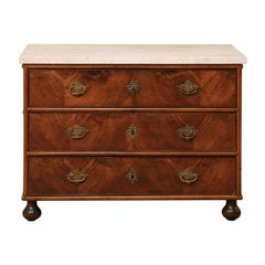 Swedish, 18th Century Wood Three-Drawer Chest with Marble Top & Rococo Hardware