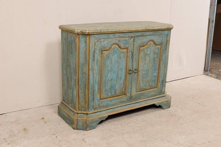 Carved Custom Vintage Italian Style Two-Door Painted Wood American Buffet Console For Sale