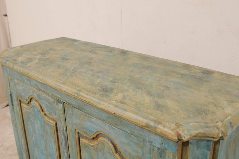 20th Century Custom Vintage Italian Style Two-Door Painted Wood American Buffet Console For Sale
