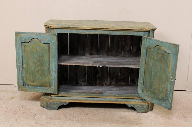 Custom Vintage Italian Style Two-Door Painted Wood American Buffet Console For Sale 3