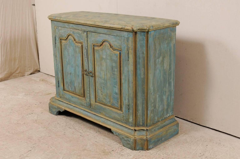 Custom Vintage Italian Style Two-Door Painted Wood American Buffet Console In Good Condition For Sale In Atlanta, GA