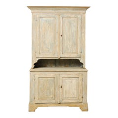 19th Century Swedish Karl Johan Painted Wood Two-Piece Cabinet with Shelves