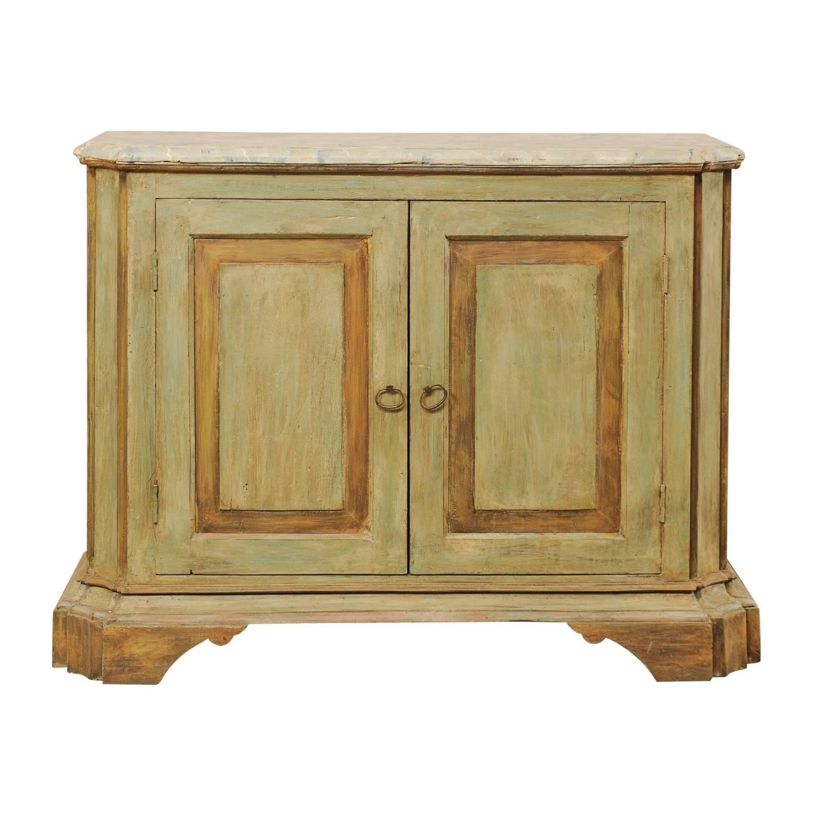 Vintage Italian Style Two-Door Painted Wood Buffet Console on Bracket Feet