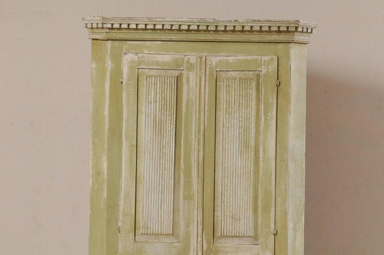 Carved Swedish Late 18th Century Period Gustavian Tall Painted Wood Corner Cabinet For Sale