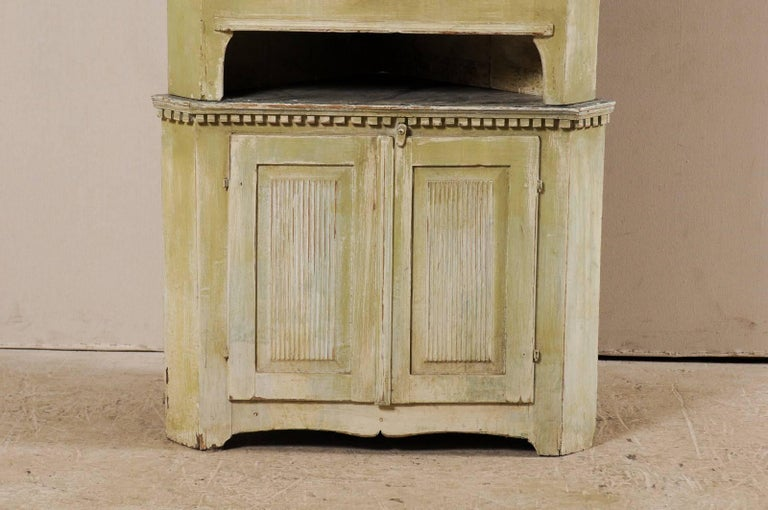 18th Century and Earlier Swedish Late 18th Century Period Gustavian Tall Painted Wood Corner Cabinet For Sale