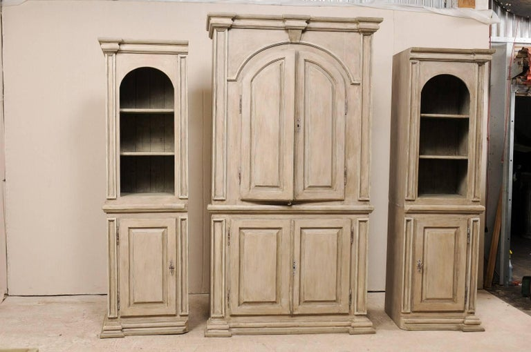 Carved Large Vintage Brazilian Painted Wood Cabinet with Lovely Repeating Arch Shape
