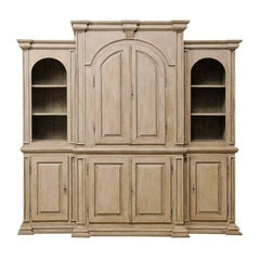 Large Vintage Brazilian Painted Wood Cabinet with Lovely Repeating Arch Shape