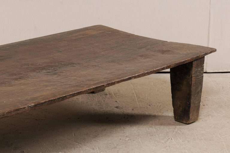 Carved Beautiful Rustic Primitive Naga Wood Coffee Table from the Tribes of North India For Sale