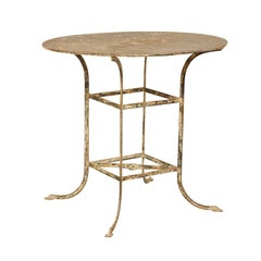 French Mid-20th Century Round Shaped Metal Bistro Table with Lovely Patina