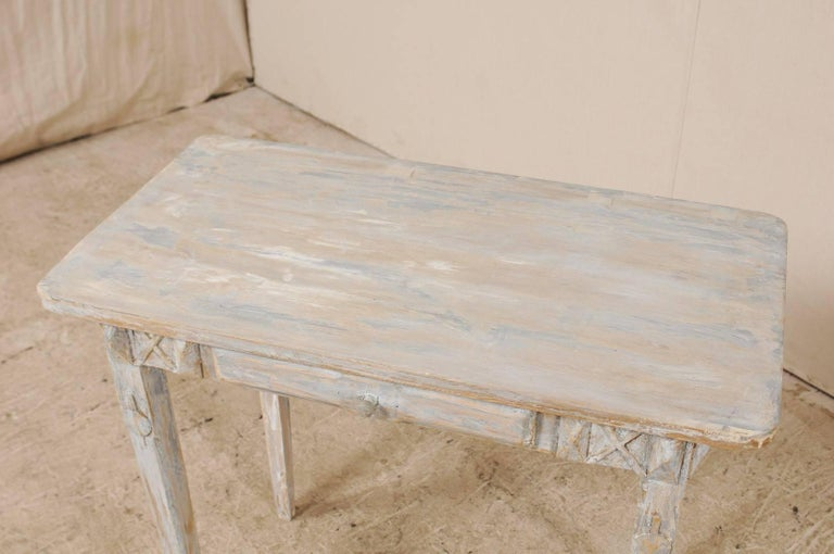 Swedish Period Gustavian, 19th Century Painted Wood Side Table with Drawer 2