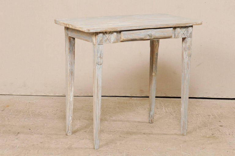 Carved Swedish Period Gustavian, 19th Century Painted Wood Side Table with Drawer