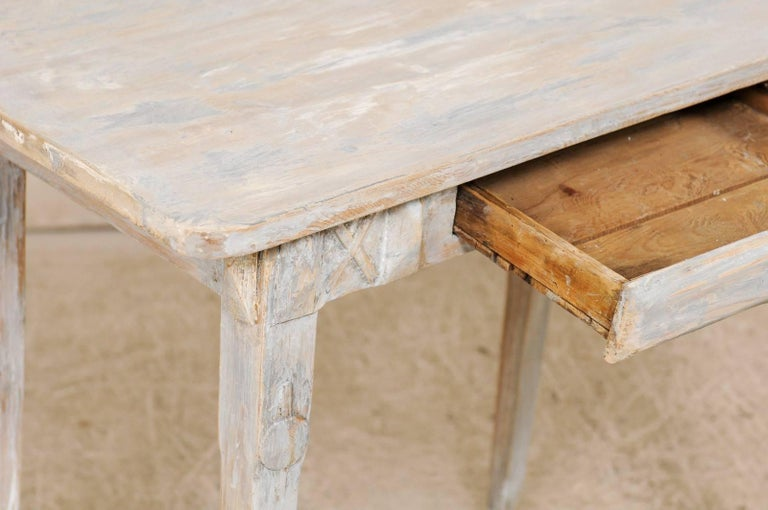 Swedish Period Gustavian, 19th Century Painted Wood Side Table with Drawer 4