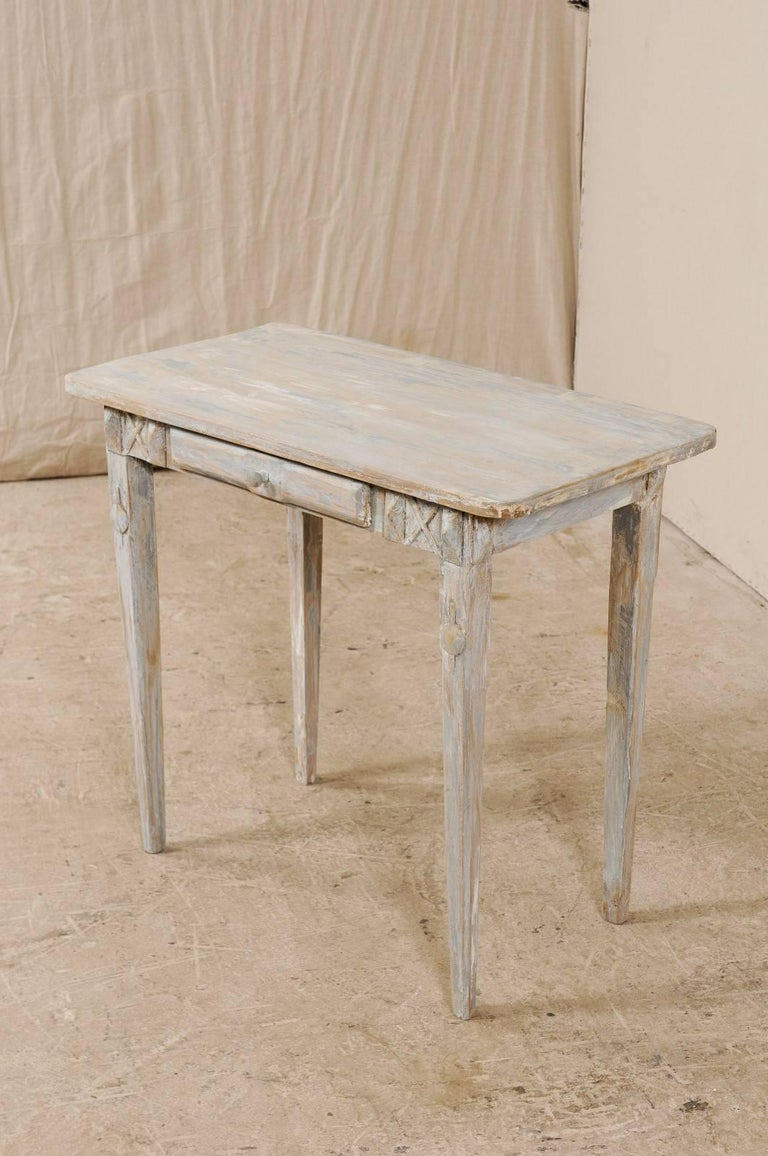 Swedish Period Gustavian, 19th Century Painted Wood Side Table with Drawer 1