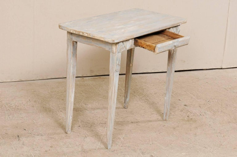 Swedish Period Gustavian, 19th Century Painted Wood Side Table with Drawer 3