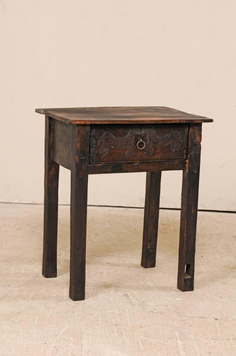 Carved Wood Side Table ~ Unique guatemalan wood side table with primitive carved