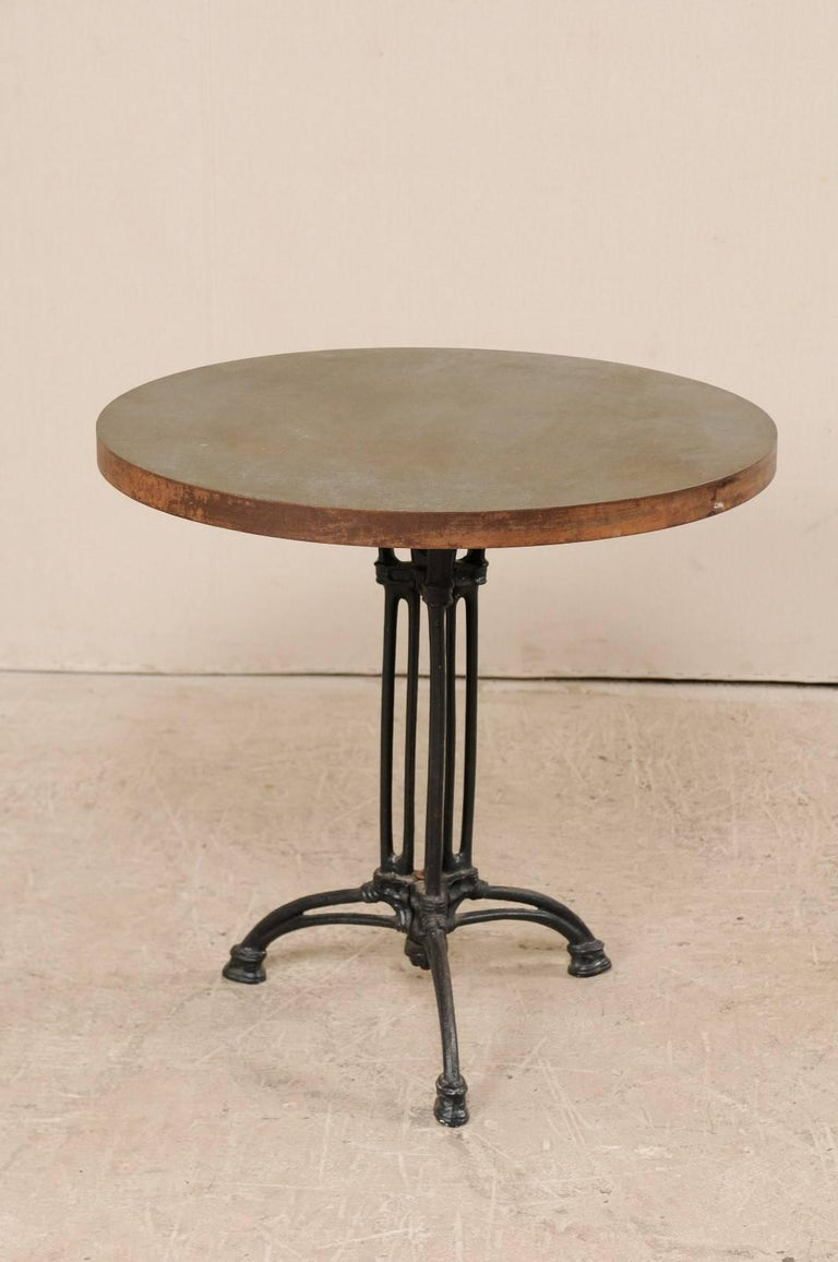 French Iron Bistro Table with Early 19th Century Iron Base, Indoor/Outdoor For Sale 3