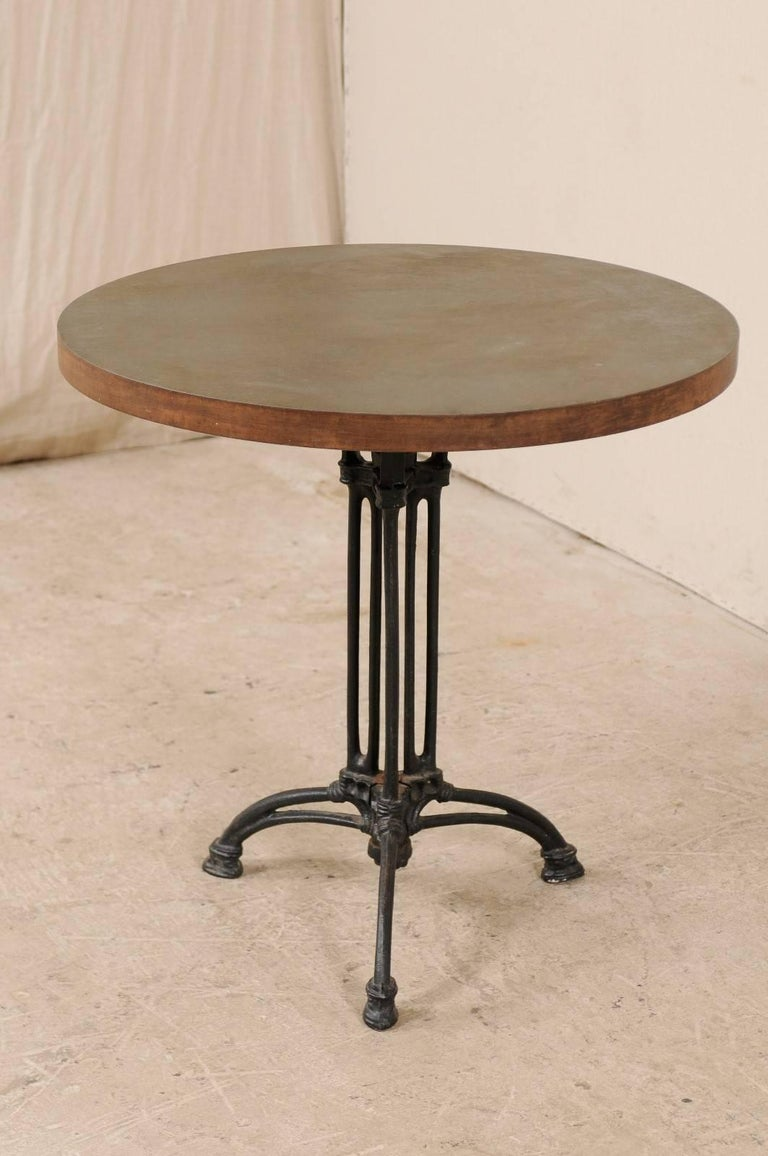 Metal French Iron Bistro Table with Early 19th Century Iron Base, Indoor/Outdoor For Sale
