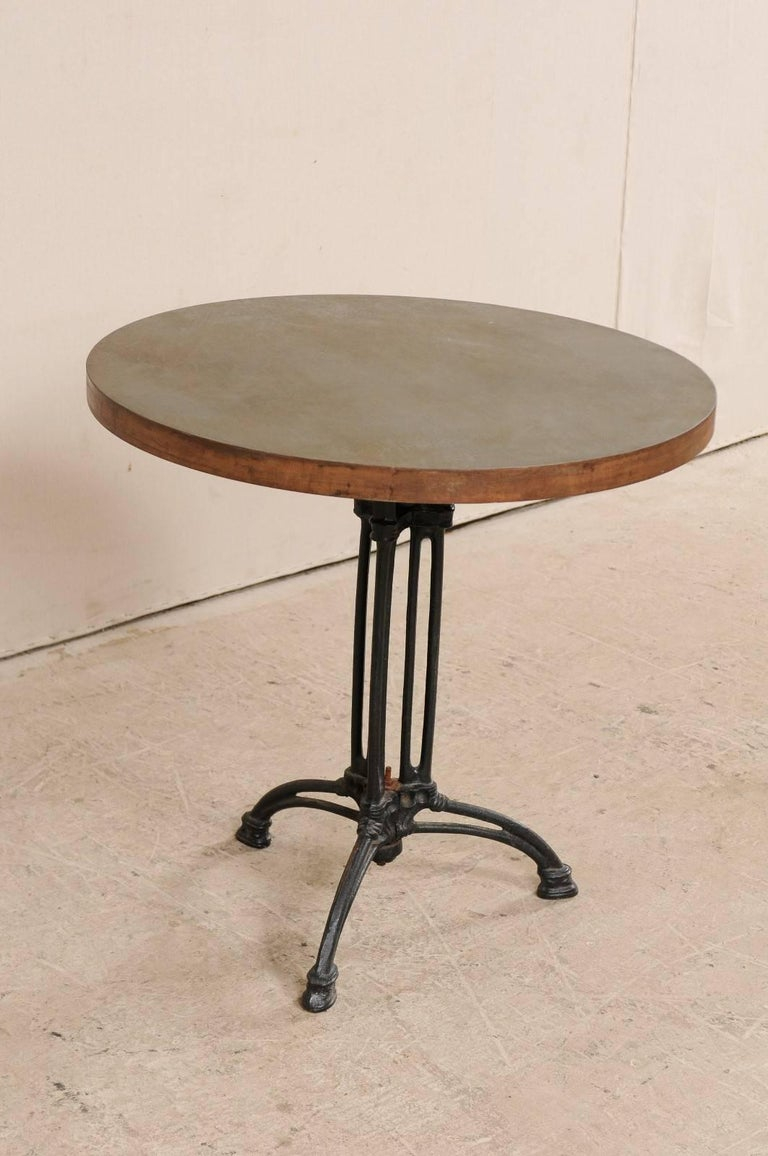 French Iron Bistro Table with Early 19th Century Iron Base, Indoor/Outdoor For Sale 1