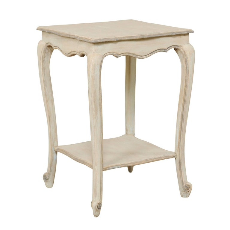 Vintage French Early 20th Century Painted Wood Side Table in Soft Pale Blue-Grey
