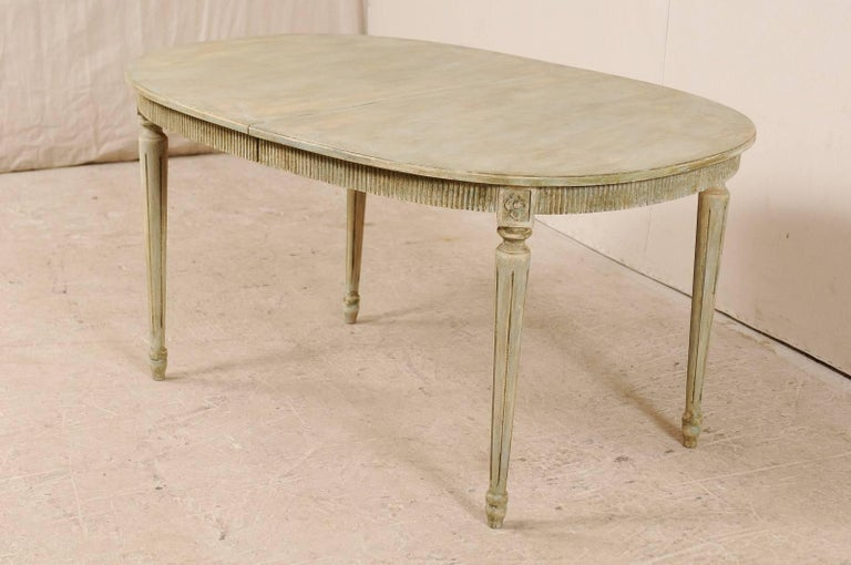 Carved Swedish Gustavian Style Vintage Painted Wood Medium Size Oval Table For Sale