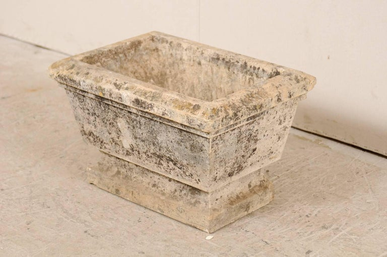 20th Century Nicely Aged European Hand-Carved Rectangular Stone Planter with Chamfered Edges For Sale