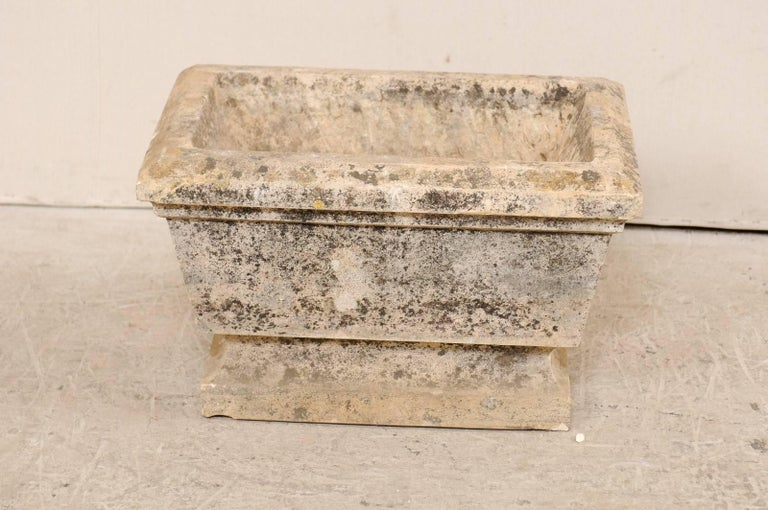Nicely Aged European Hand-Carved Rectangular Stone Planter with Chamfered Edges In Good Condition For Sale In Atlanta, GA