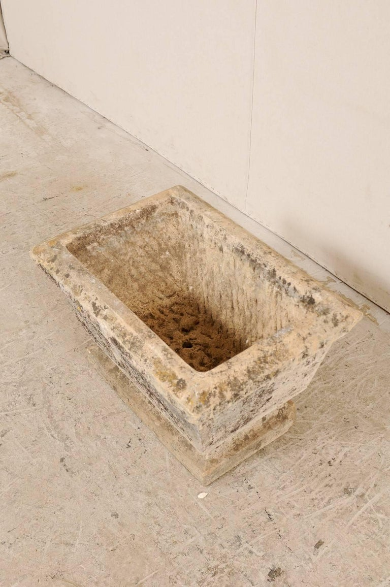 Nicely Aged European Hand-Carved Rectangular Stone Planter with Chamfered Edges For Sale 1