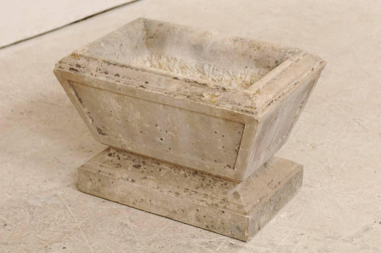 European Hand-Carved Rectangular Tapered Stone Planter, Early 20th Century For Sale 1