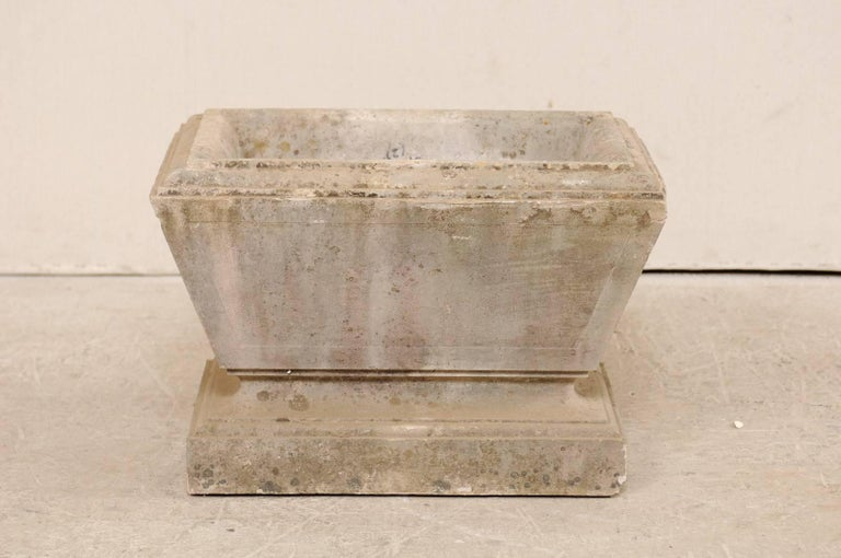 European Hand-Carved Rectangular Tapered Stone Planter, Early 20th Century For Sale 4
