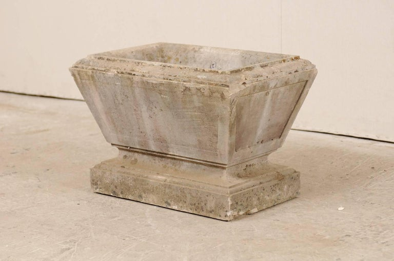 European Hand-Carved Rectangular Tapered Stone Planter, Early 20th Century For Sale 3